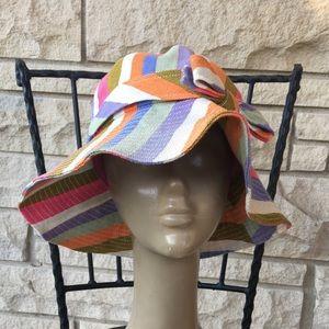 rainbow candy stripe linen coach hat
